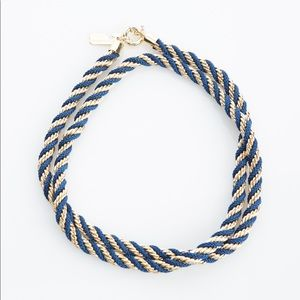 Blue and gold rope twisted statement necklace
